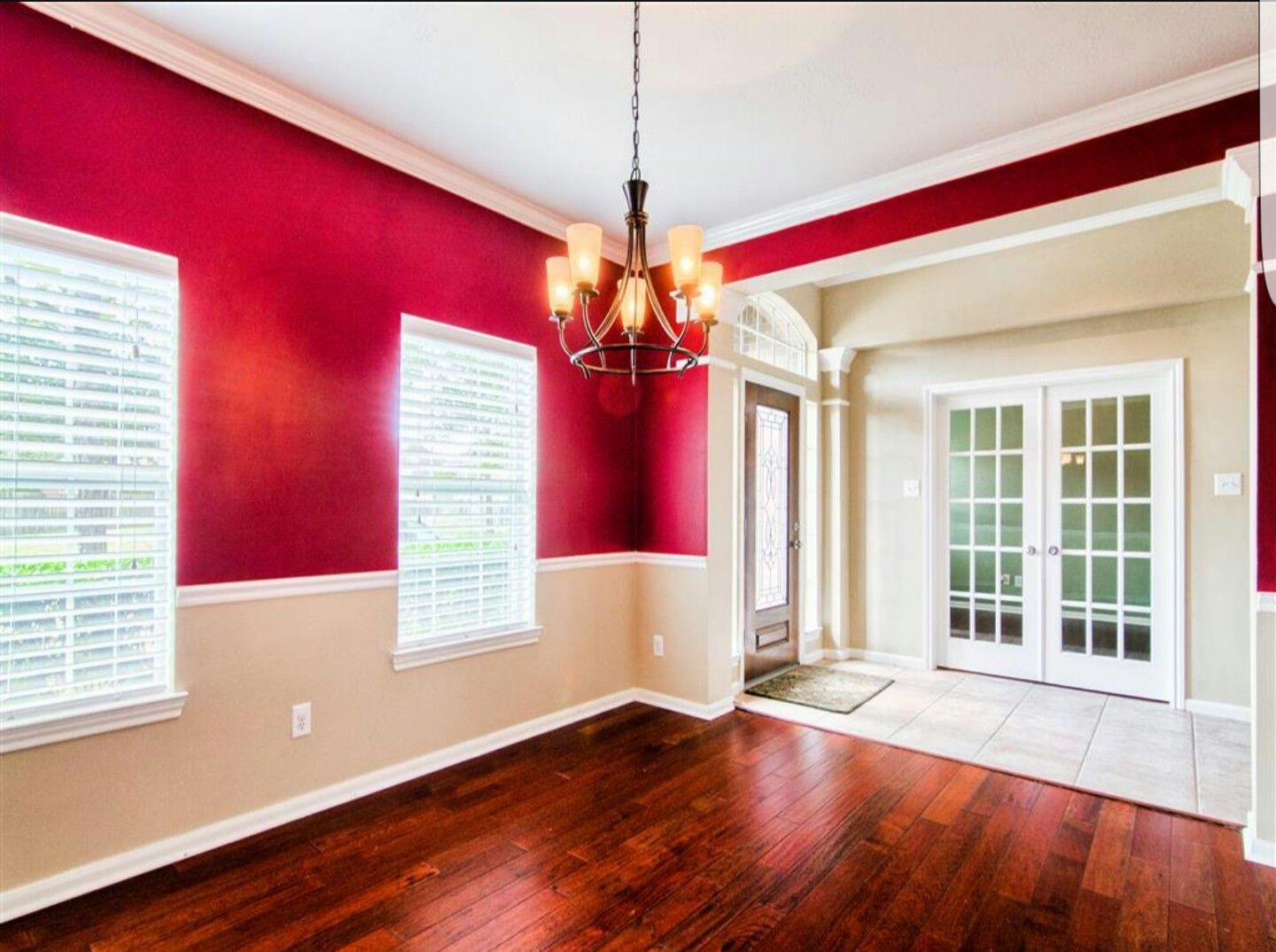 Two tone red walls with chair rails   Living room wall ...