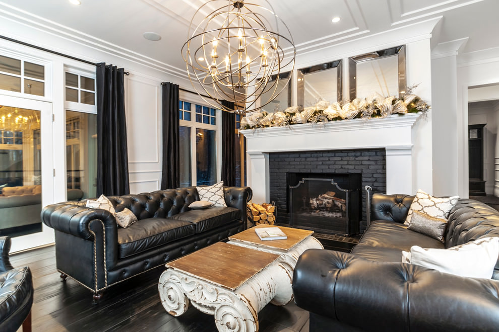 22+ Black Living Room Couches, Designs, Ideas, Plans ...